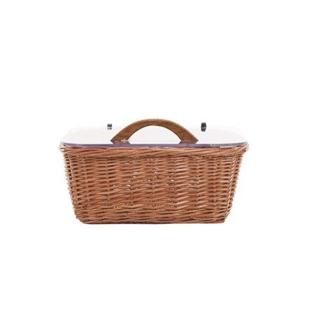 Wicker kitchen storage basket with plexi lid