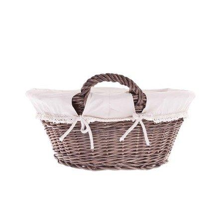 Wicker laundry bin, storage basket with cotton lining