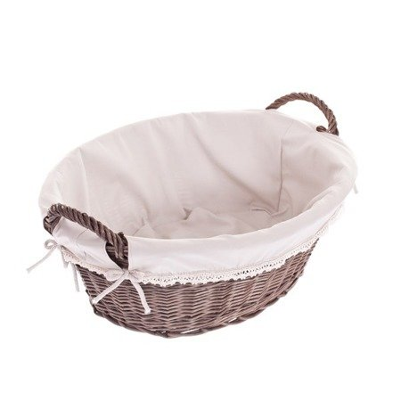 Wicker laundry bin, storage basket with cotton lining