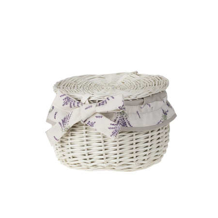 Wicker storage basket with lid