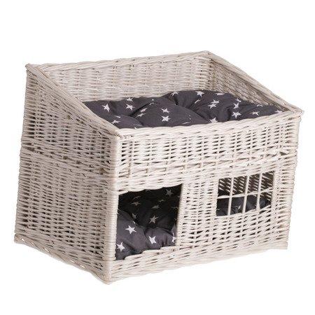 Rechteckige Katzenhütte in Beige, Katzenkorb aus Weide