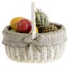 Geflochten Einkaufskorb aus Weide, Weidenkorb in Beige mit Bügel und Besatz
