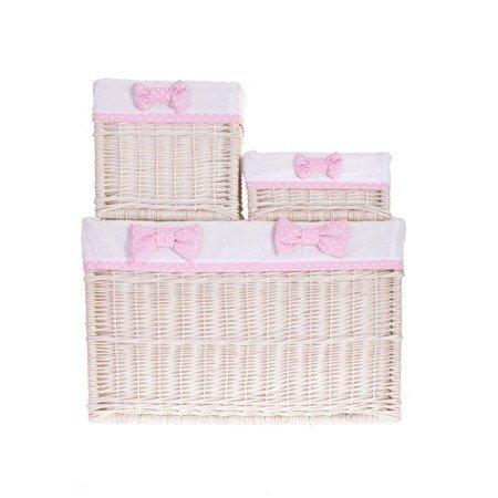 Zestaw koszy wybielanych z białą tkaniną + różowa kokarda